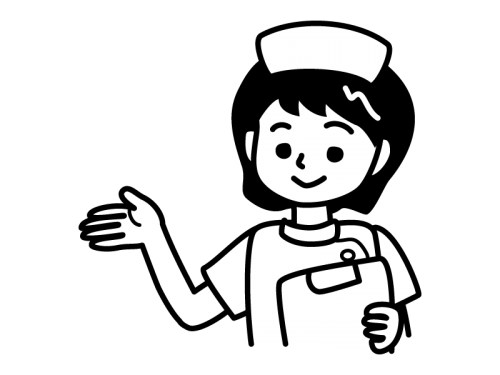 看護師ナースの白黒イラスト02 かわいい無料の白黒イラスト モノぽっと