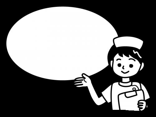 看護師・ナースの案内枠・フレームの白黒イラスト02