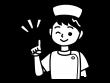 ワインポイントのナース・看護師の白黒イラスト02