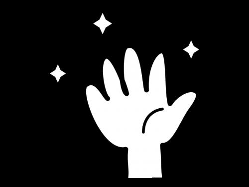 ピカピカの清潔な手の白黒イラスト