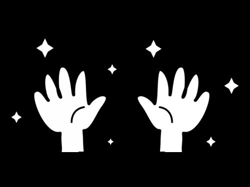 ピカピカの清潔な手の白黒イラスト02