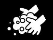 石鹸で手洗いの白黒イラスト