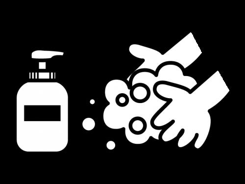 石鹸で手洗いの白黒イラスト02