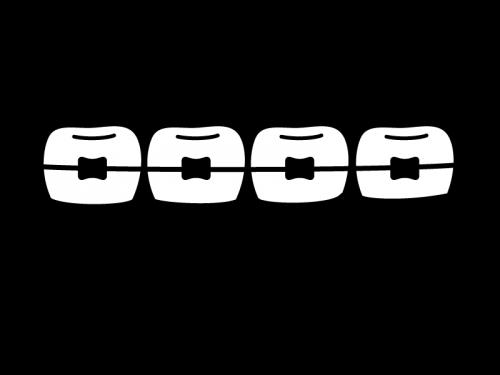歯列矯正の白黒イラスト02