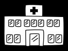 病院の白黒イラスト