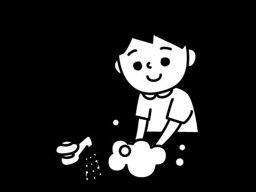 手洗いする子供の白黒イラスト02