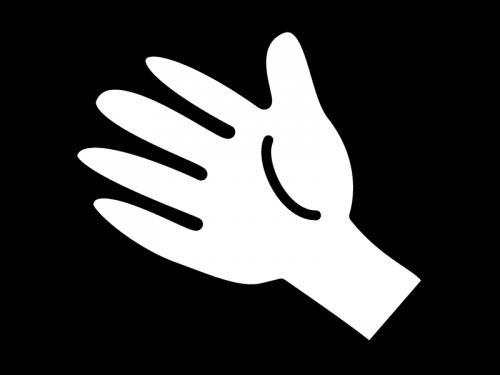 手のひらの白黒イラスト