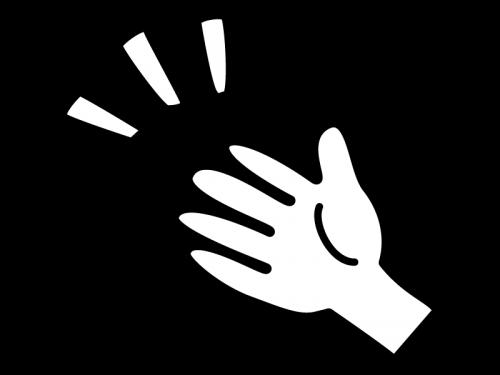 手のひらの白黒イラスト02