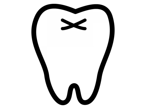 歯の白黒イラスト