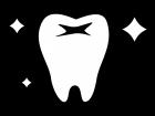 ピカピカの歯の白黒イラスト