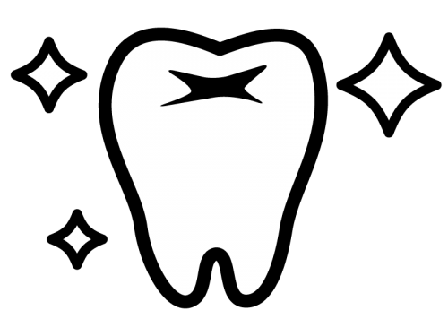ピカピカの歯の白黒イラスト かわいい無料の白黒イラスト モノぽっと