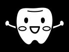 かわいい歯のキャラクターの白黒イラスト