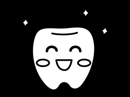 ピカピカの歯のキャラクターの白黒イラスト