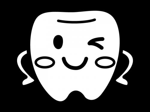 かわいい歯のキャラクターの白黒イラスト02