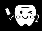 歯ブラシを持った歯のキャラクターの白黒イラスト