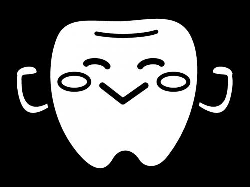 かわいい歯のキャラクターの白黒イラスト03