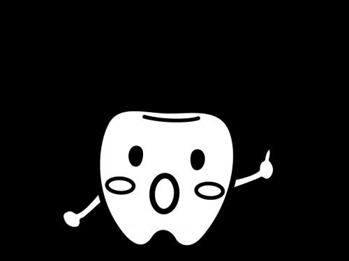 歯のキャラクターとビックリマークの白黒イラスト