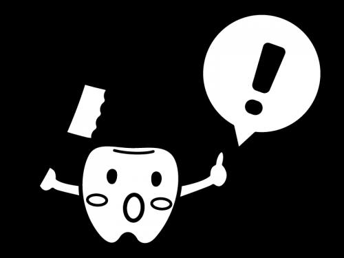 歯のキャラクターとビックリマークの白黒イラスト02