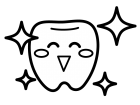 ピカピカの歯のキャラクターの白黒イラスト02