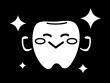 ピカピカの歯のキャラクターの白黒イラスト03