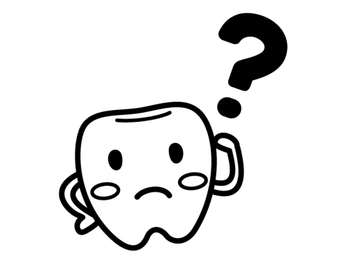 歯のキャラクターとはてなマークの白黒イラスト