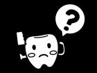 歯のキャラクターとはてなマークの白黒イラスト02