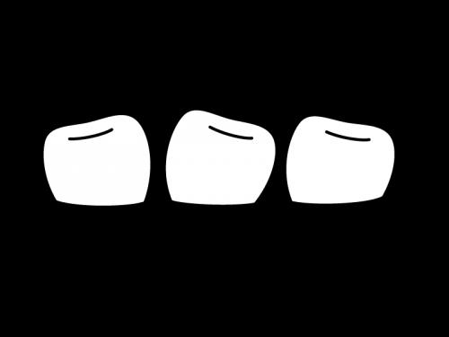 ガタガタしている歯並びの白黒イラスト