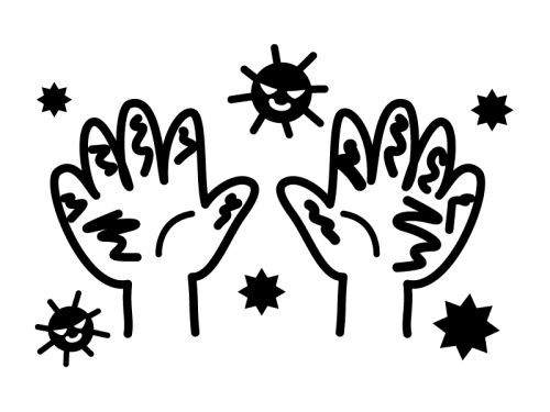 バイ菌で汚れた手の白黒イラスト02