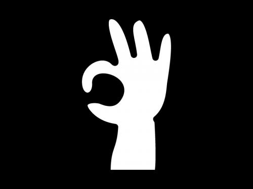 指でOKマークの白黒イラスト
