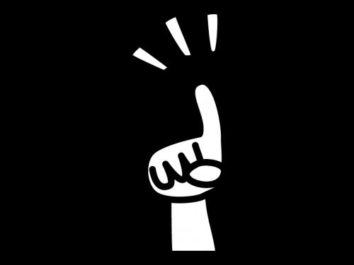 人差し指でワンポイントの白黒イラスト02