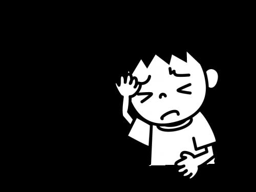 頭痛の白黒イラスト