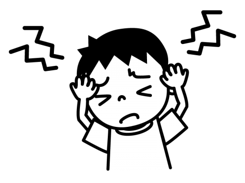 頭痛の白黒イラスト02
