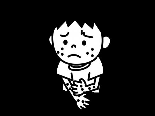 アレルギー・湿疹の白黒イラスト02