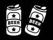 缶ビールの白黒イラスト