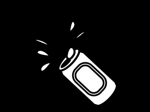 缶の中を洗う白黒イラスト