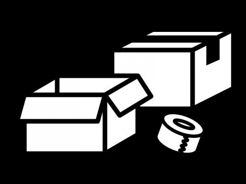 ダンボールとテープの白黒イラスト