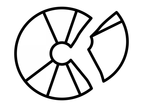 割れたCD・ディスクの白黒イラスト
