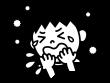 花粉症でマスクをしている白黒イラスト02