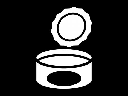 空の缶詰の白黒イラスト04