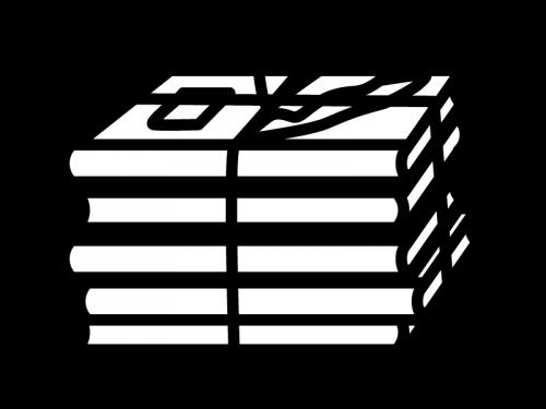 古紙・古本の白黒イラスト
