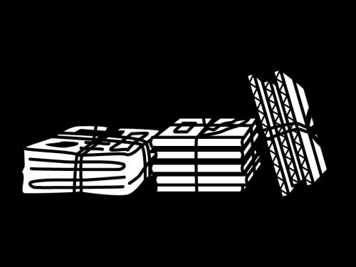 古紙類の白黒イラスト