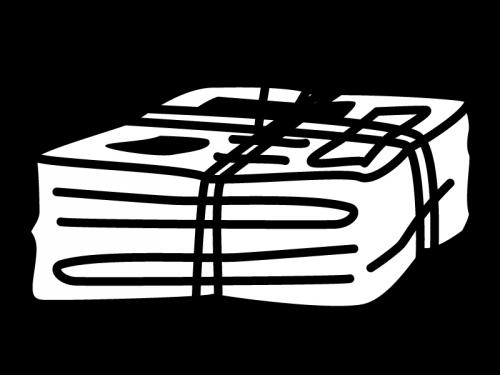古紙・新聞紙の白黒イラスト