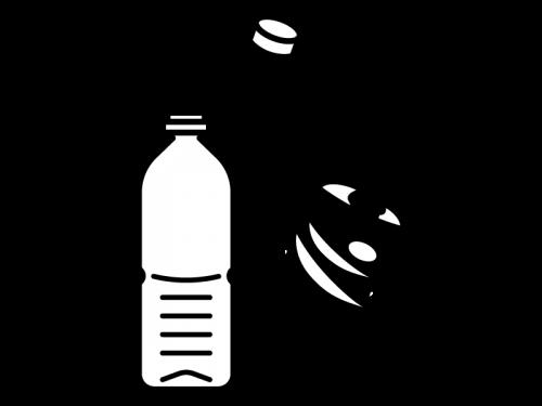 ペットボトルの分別の白黒イラスト