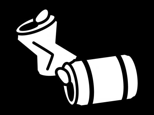 空き缶の白黒イラスト