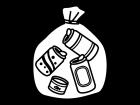 ゴミ袋に入った空き缶の白黒イラスト