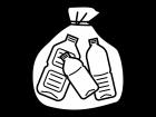 ゴミ袋に入ったペットボトルの白黒イラスト
