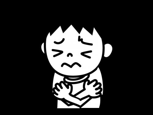 寒気・身震いの白黒イラスト