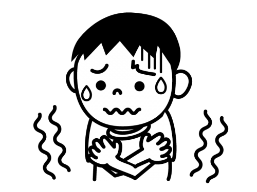 寒気・身震いの白黒イラスト02