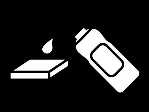 掃除用洗剤と雑巾の白黒イラスト