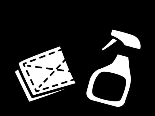 掃除・除菌スプレーと雑巾の白黒イラスト